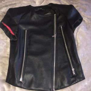 Zara short sleeved leather jacket